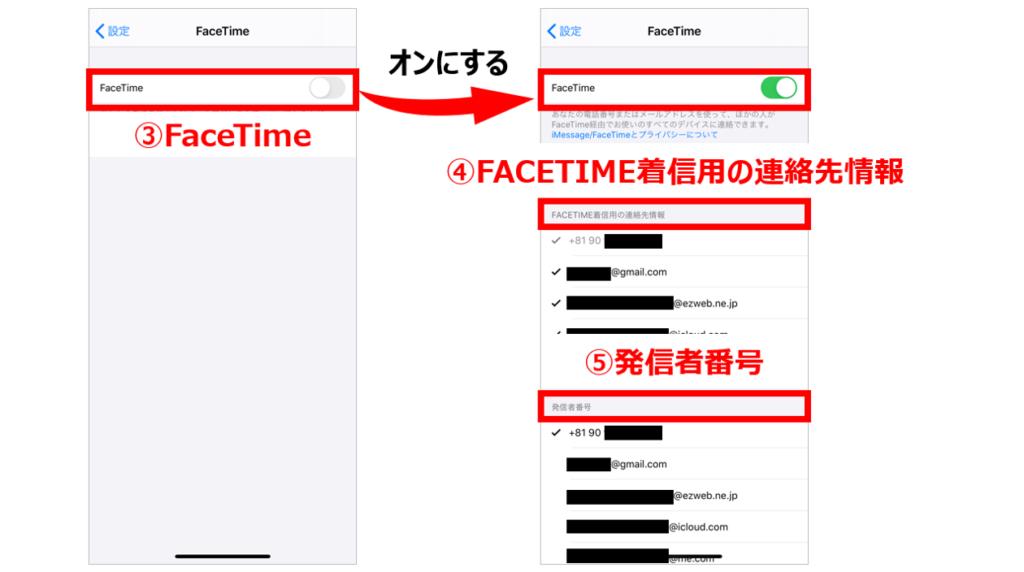 FaceTimeの設定方法2